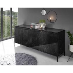Mango 207cm black gloss marble sideboard