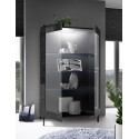 Mango two door black gloss marble display cabinet with LED lights