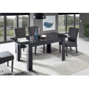 Mango extendable dining table in black gloss marble finish
