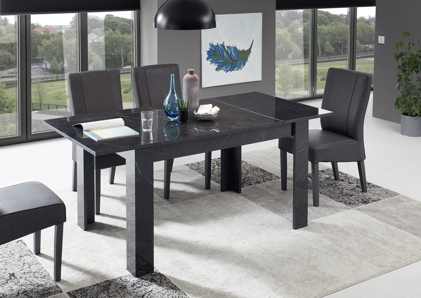 Picture of: Mango Extendable Dining Table In Black Gloss Marble Finish Dining Tables 4406 Sena Home Furniture