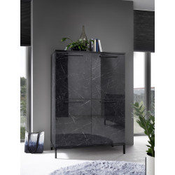 Mango two door black gloss marble storage cabinet