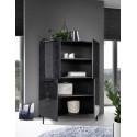 Mango two door black gloss marble storage cabinet