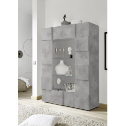 Diana two door concrete imitation display cabinet with LED lights