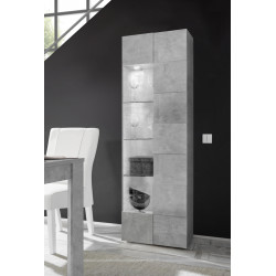 Diana narrow display cabinet in concrete imitation finish