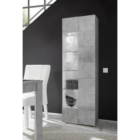 Diana narrow display cabinet in concrete imitation finish