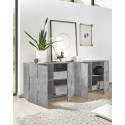 Diana 241cm concrete imitation sideboard with 4 doors