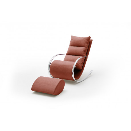 Nola modern red finish armchair with footstool