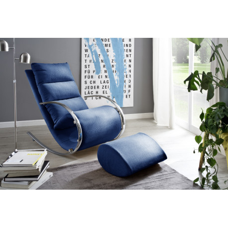 Nola blue finish modern armchair with footstool