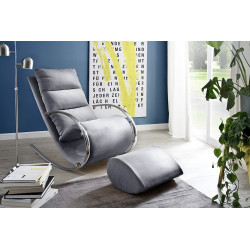 Nola grey finish modern armchair with footstool