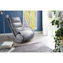 Nola grey finish modern armchair with footstool