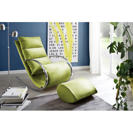 Nola green finish modern armchair with footstool