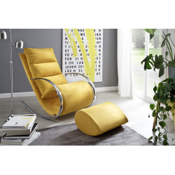 Nola yellow finish modern armchair with footstool