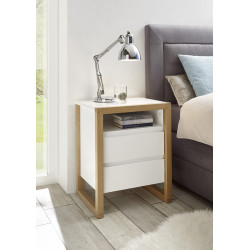 Fasil set of two bedside cabinets with oak frame