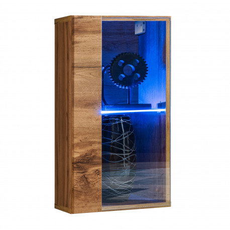 Switch small modular wall display cabinet with LED lights