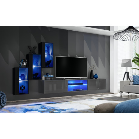 Switch VI - modular wall unit with LED lights