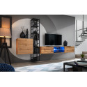 Switch M1 modular wall unit with LED lights and metal rack