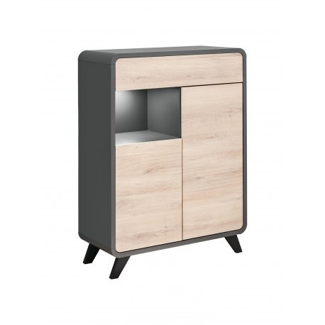Round 90cm display highboard with LED lights
