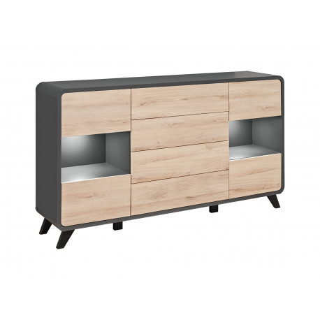 Round 160cm display sideboard with LED lights