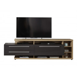 Odin large TV unit in light oak and grey finish