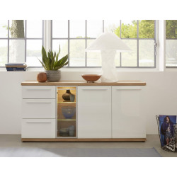 Odin 182cm display sideboard in light oak and white finish