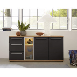 Odin 182cm display sideboard in light oak and grey finish
