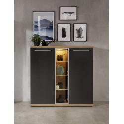Odin display highboard in light oak and grey finish