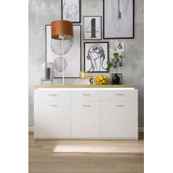 Cali 156cm sideboard with oak veneered top and LED lights