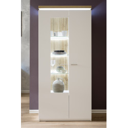 Cali wide display cabinet with oak veneered top and LED lights