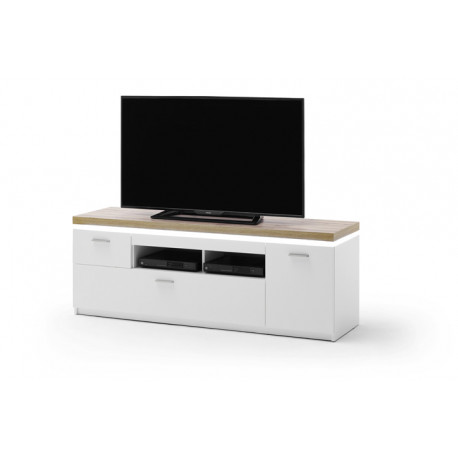 Cali 156cm TV stand with oak veneered top and LED lights