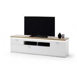 Cali 196cm TV stand with oak veneered top and LED lights