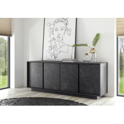 Carrera 180cm modern sideboard in black marble imitation finish