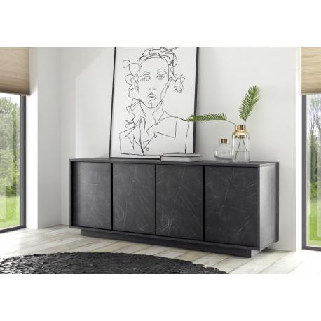 Carrera 180cm modern sideboard in black marble imitation finish