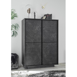Carrera storage cabinet in black marble imitation finish