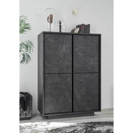 Carrera storage cabinet in black marble imitation finish