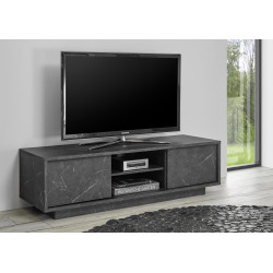Carrara 139cm modern TV unit in black marble imitation finish