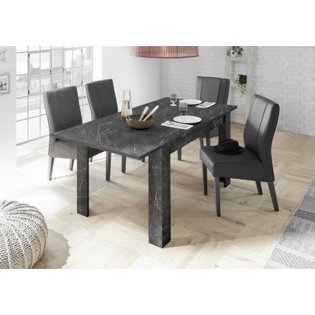 Carrara extendable dining table in black marble imitation finish