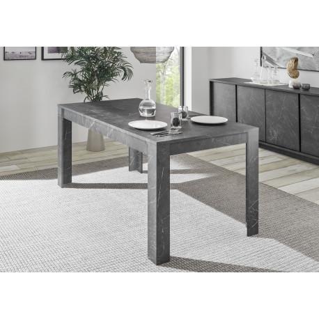 Carrara 180cm dining table in black marble imitation finish
