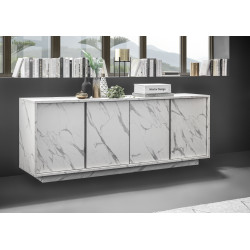 Carrara 180cm modern sideboard in white marble imitation finish