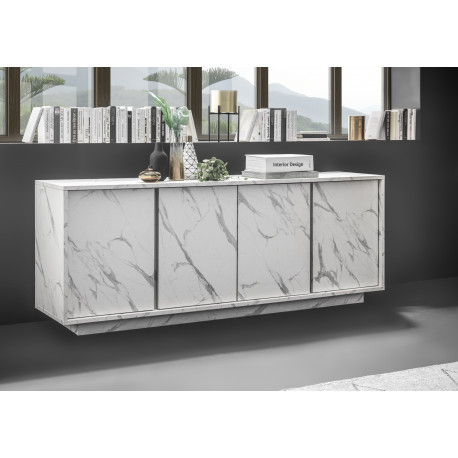 Carrara 180cm modern sideboard in white marble imitation finish