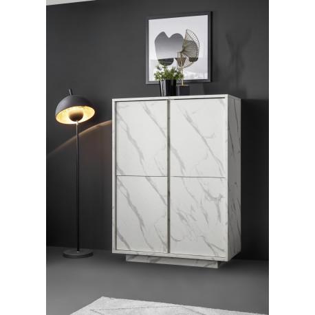 Carrara storage cabinet in white marble imitation finish