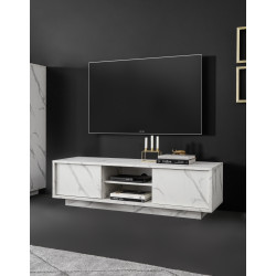 Carrara 139cm modern TV unit in white marble imitation finish