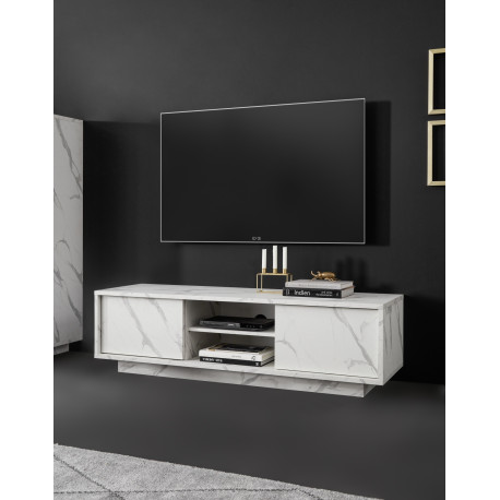 Carrara 139cm modern TV unit in white marble imitation finish