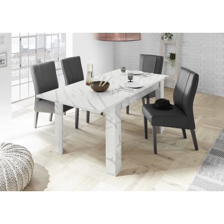 Carrara extendable dining table in white marble imitation finish