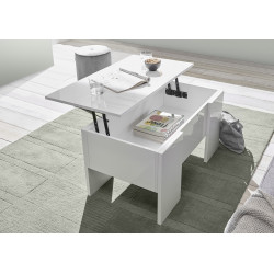 Carrara coffee table with lifting top in white high gloss
