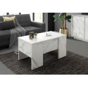 Carrara coffee table with lifting top in white marble imitation finish