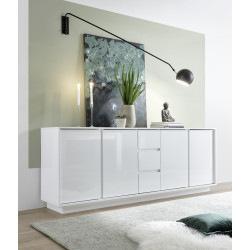 Ice 210cm modern sideboard in white gloss finish