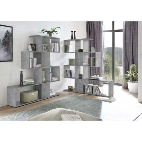 Bookcase Zeta in concrete imitation finish