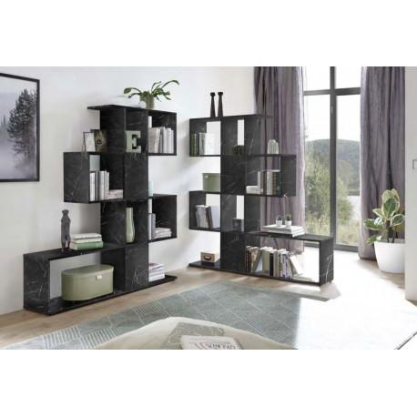Bookcase Zeta in black marble imitation finish