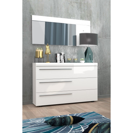 Liana white gloss chest of drawers with LED`s