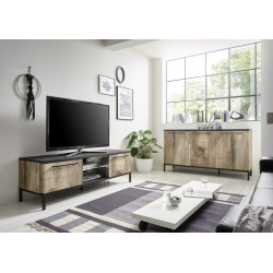 Mango II 156cm black and canyon oak finish TV Unit with LED lights